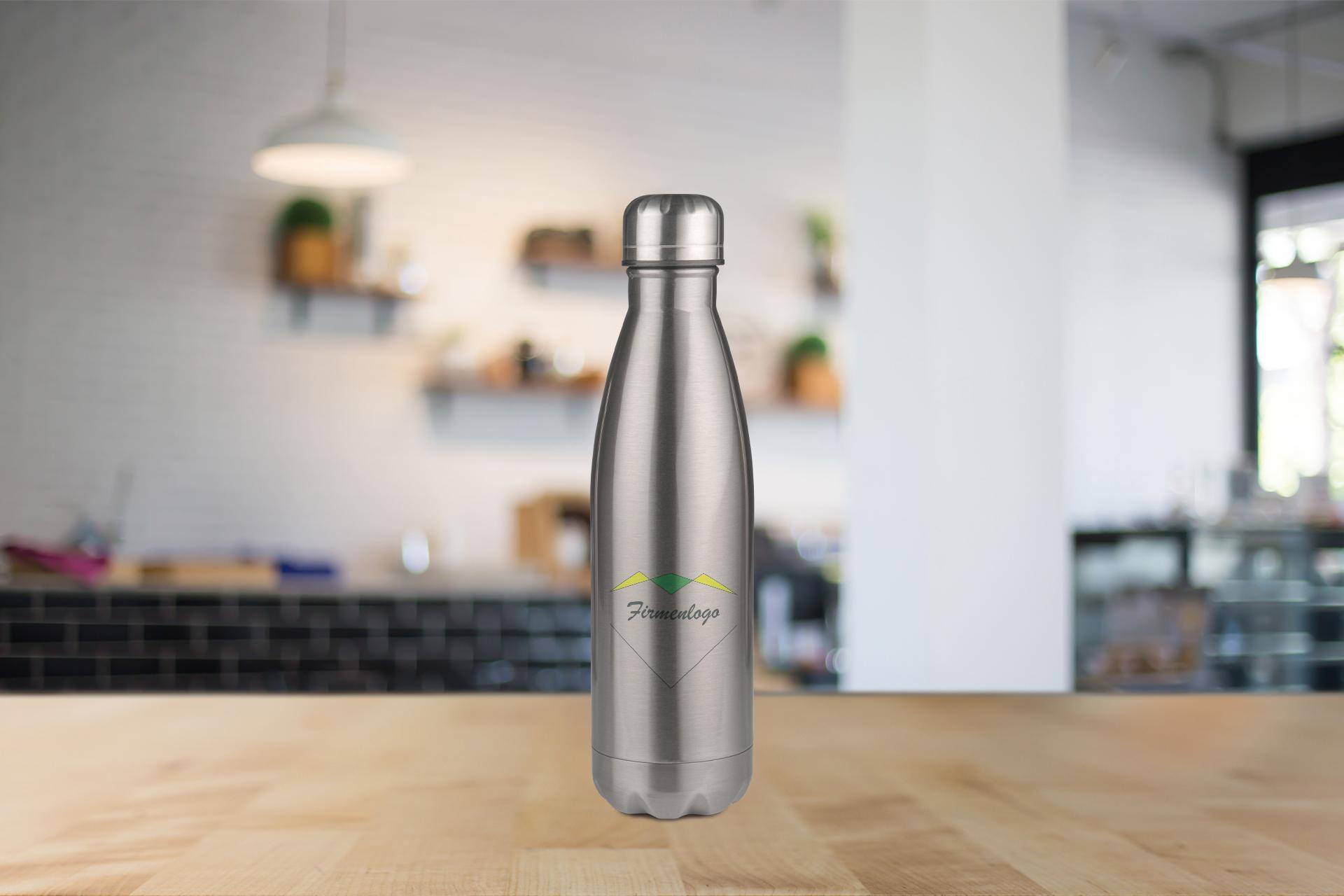 Edelstahl-Thermoflasche, 500 ml, silber oder weiß