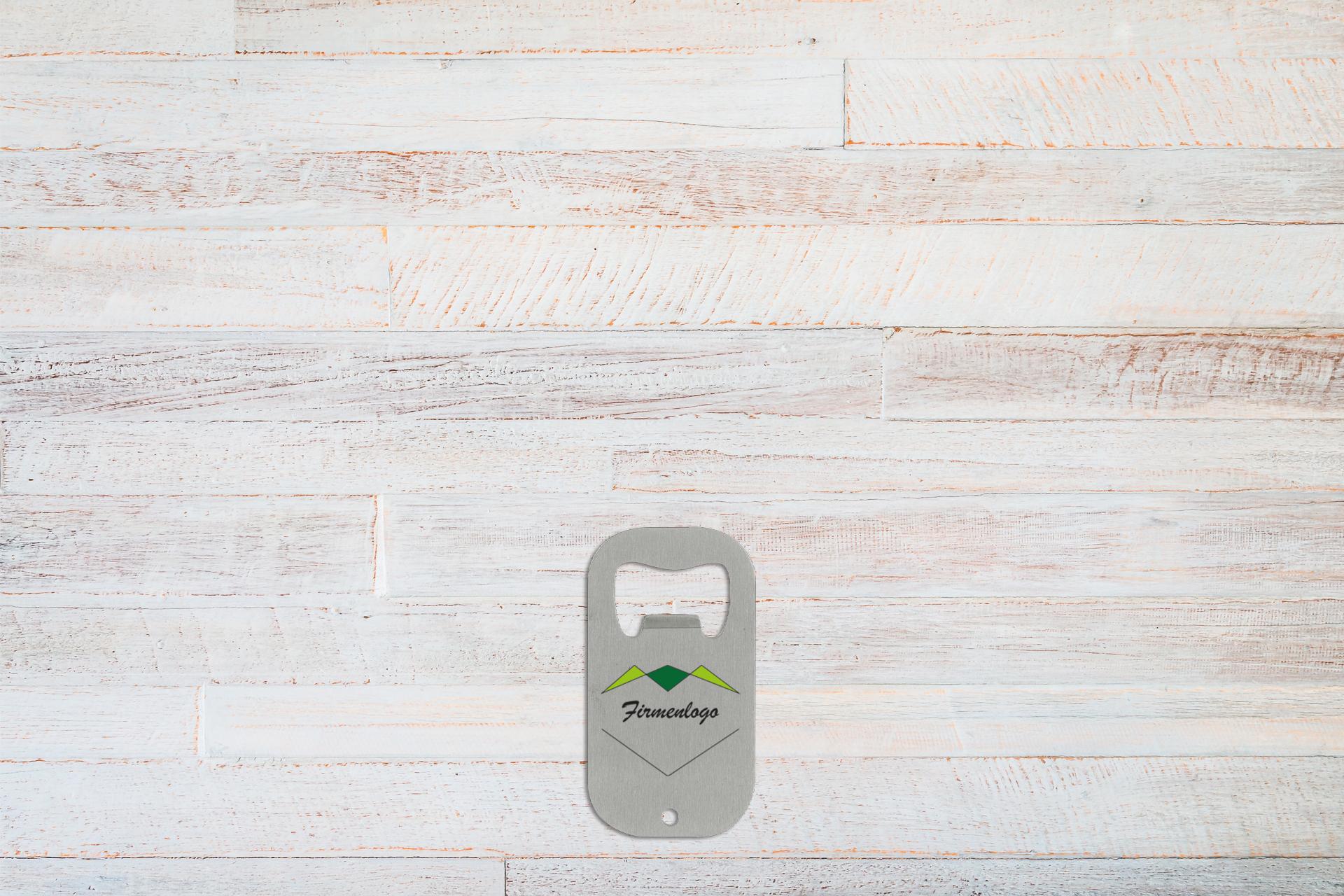 Edelstahl-Flaschenöffner, Farbe Silber, Größe 70 x 38 x 1,5 mm