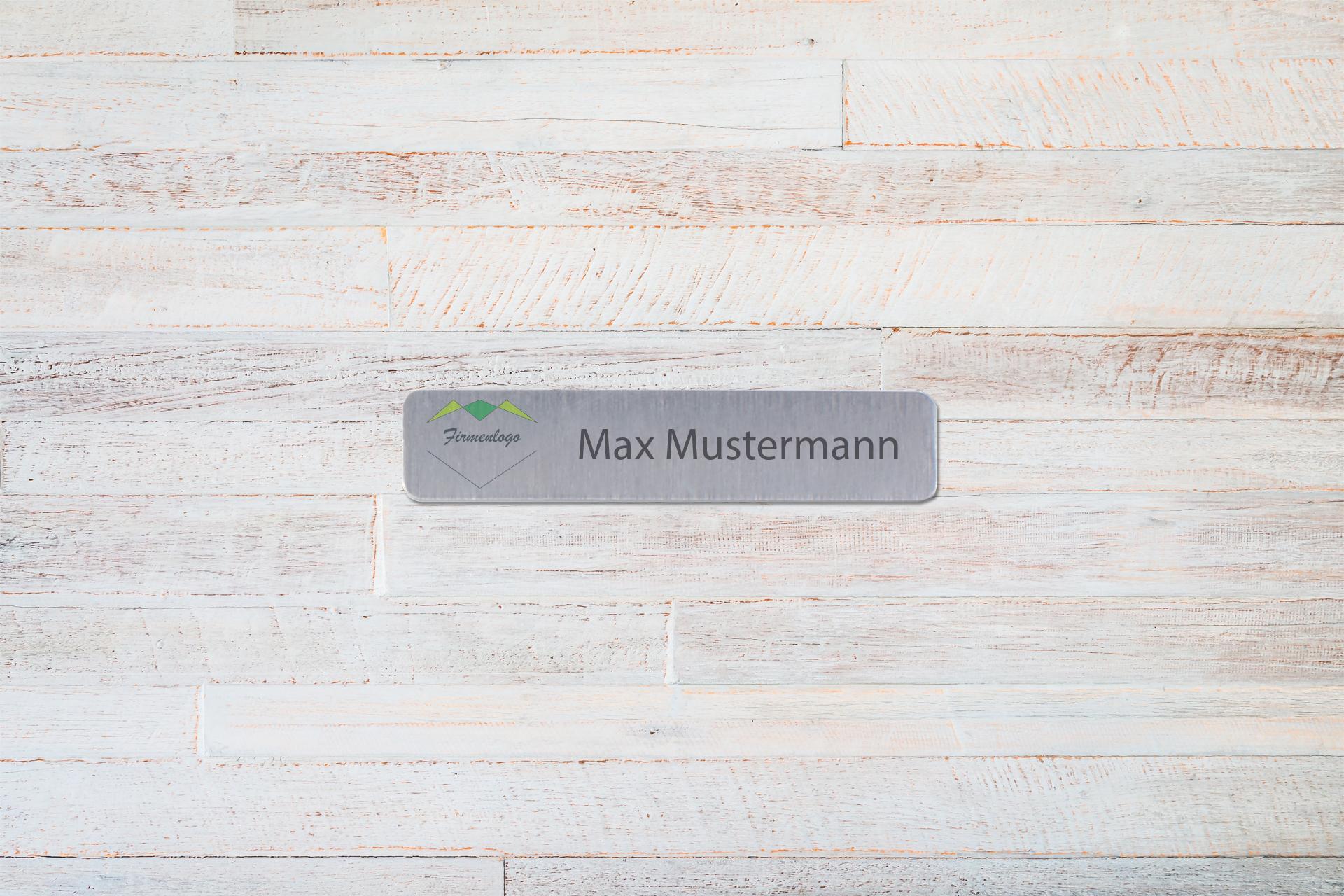 Aluminium-Namensschild, 20 x 87 mm, mit gerundeten Ecken