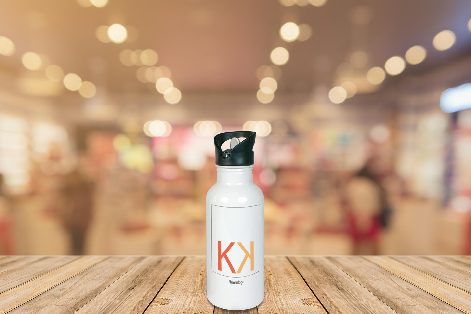 Edelstahl-Trinkflasche, 500 ml, silber und weiß