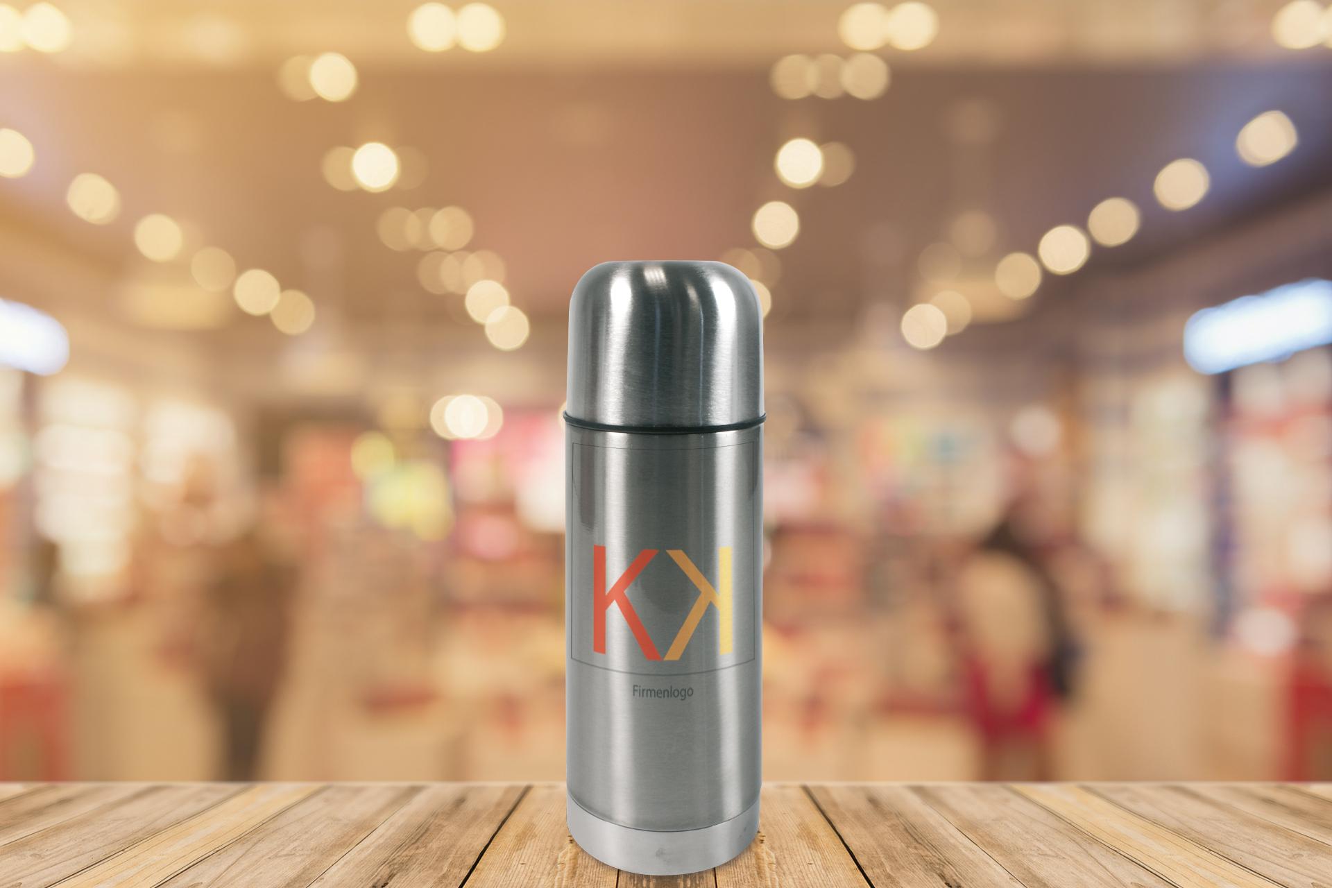 Edelstahl-Thermoflasche, 350 ml, silber oder weiß