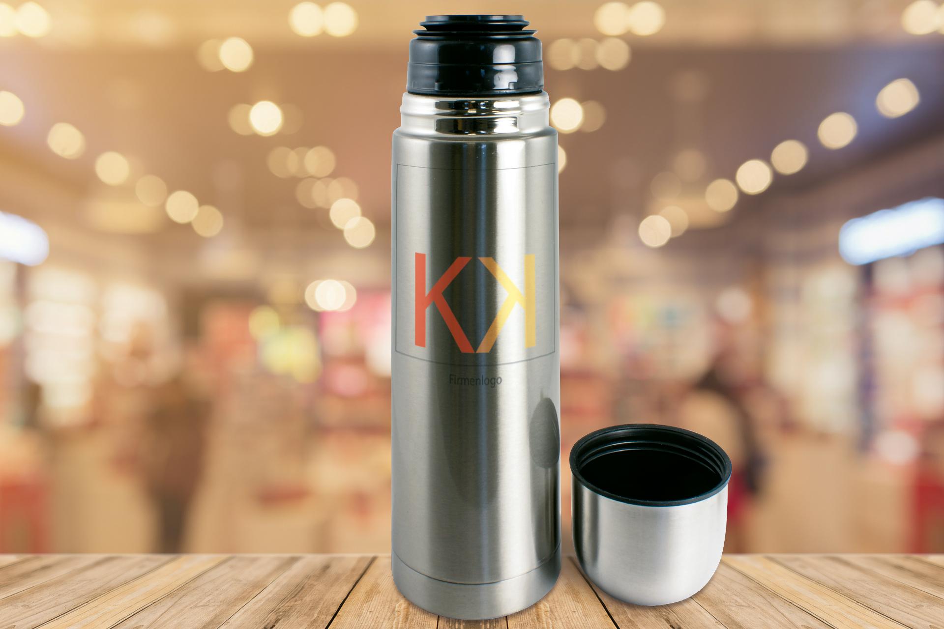 Edelstahl-Thermoflasche, 750 ml, silber oder weiß
