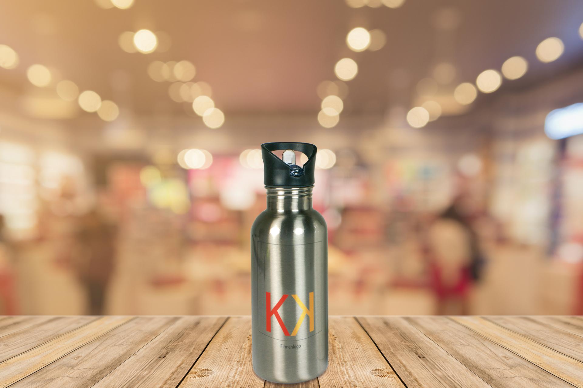 Edelstahl-Trinkflasche, 600 ml, silber und weiß  Kopie