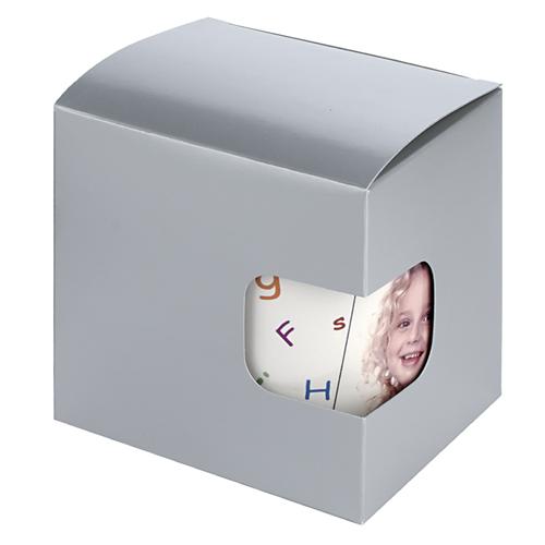 Geschenkkarton mit Sichtfenster, silber
