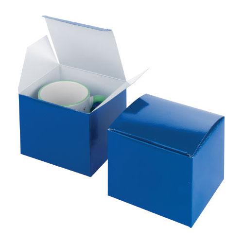 Geschenkkarton mit Tassenfixierung, blau